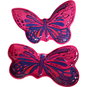 Andy Warhol Melamine Butterfly Appetizer Plate Pair In Pink