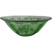 Hazel Atlas Green Kellogg's Wagon Wheel Depression Glass Bowl