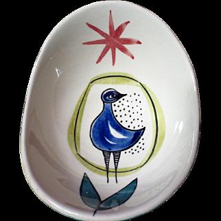 Vintage Stavangerflint Inger Waage Small Silkscreen Decorated Bird Bowl