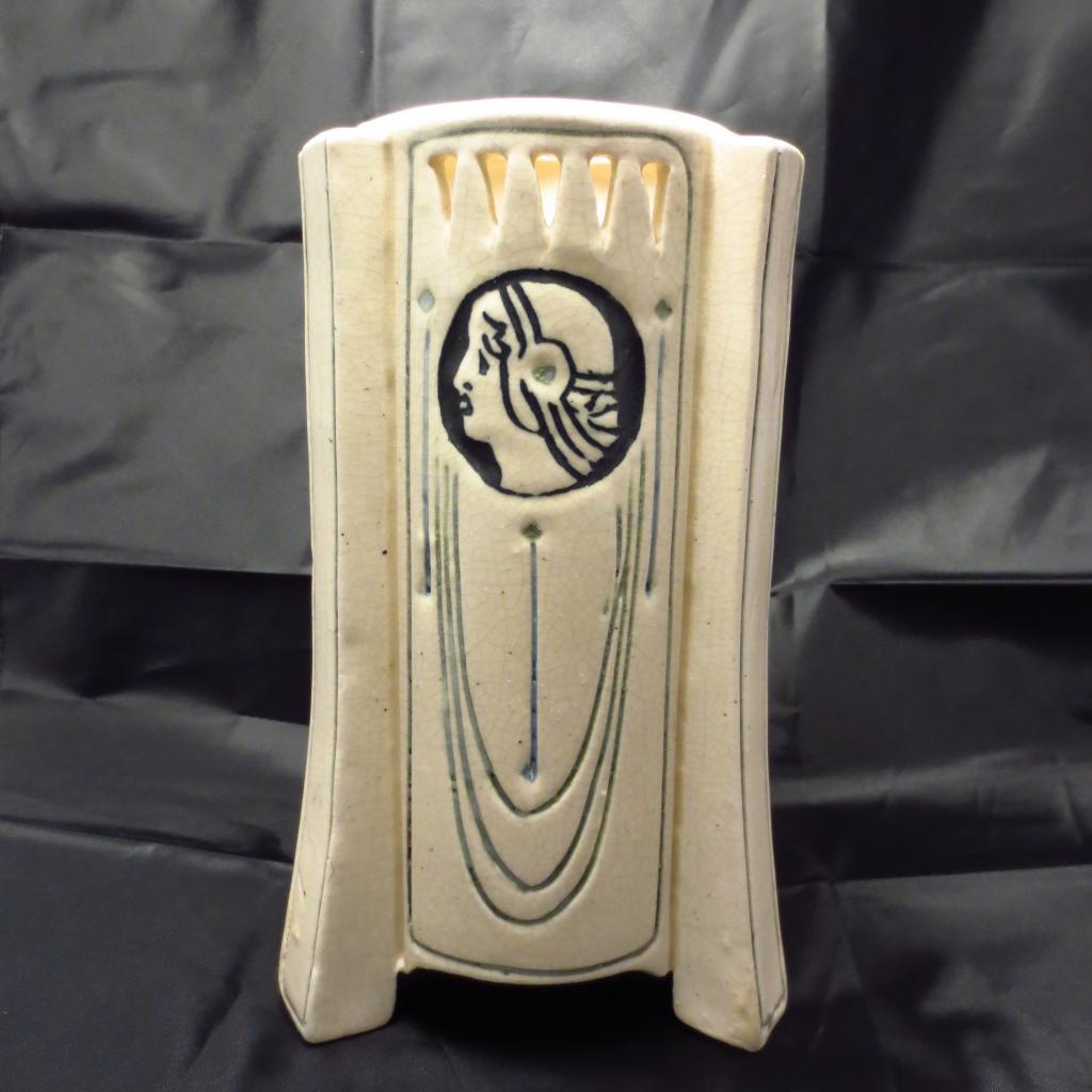 Weller Pottery Art Deco Ethel Creamware Buttressed Vase