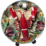 Vintage Portugese Palissy Majolica Lobster Charger