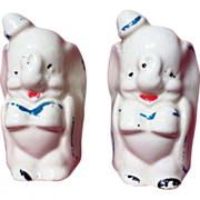 Vintage American Bisque Leeds Pottery Dumbo Salt & Pepper Shakers