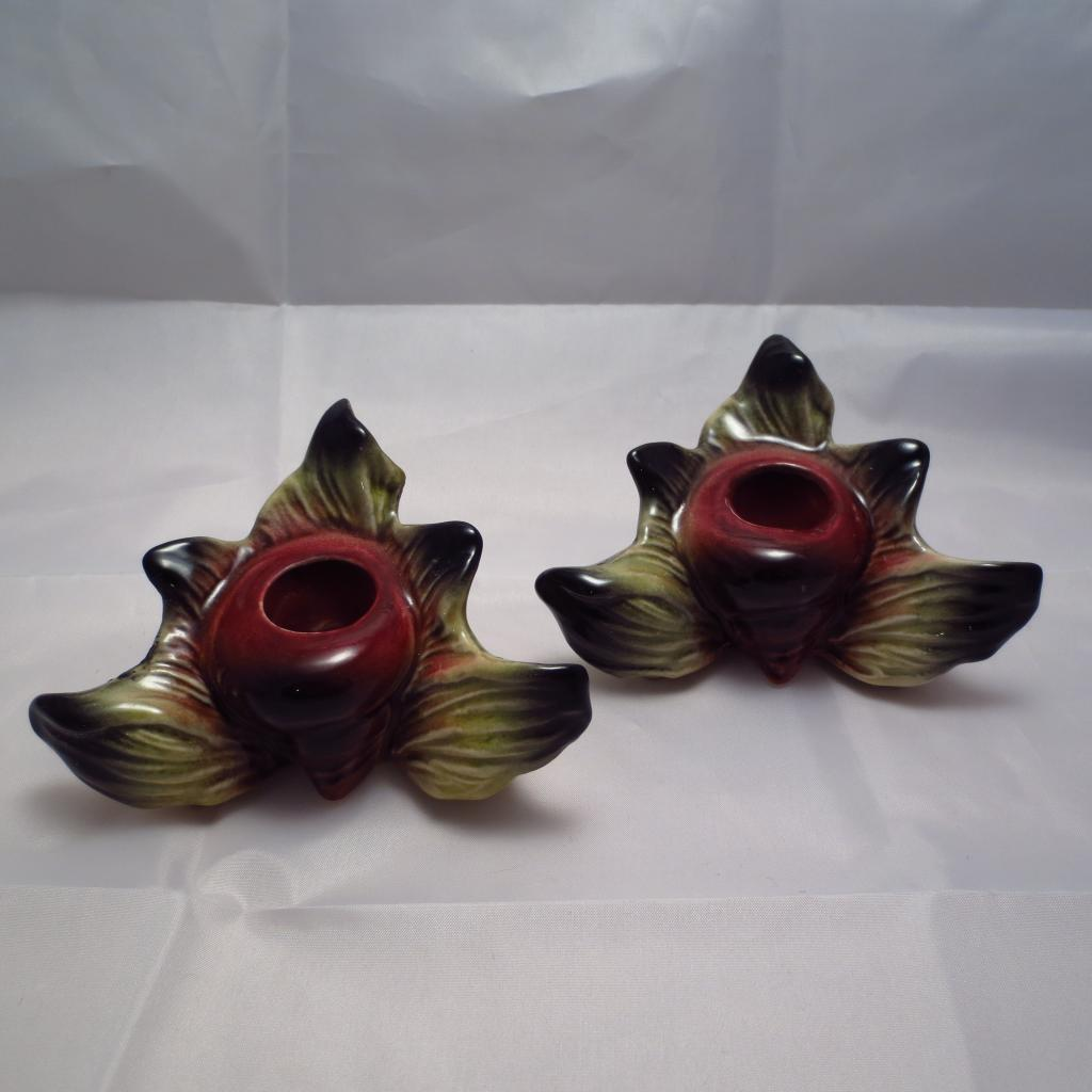 Hull Pottery Ebb Tide E-13 Shell Candle Holders