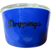 McKee Depression Fired On Blue Covered Drippings Jar