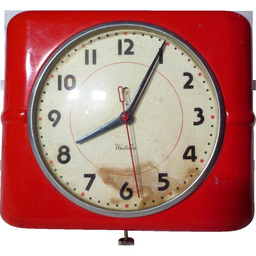 Vintage 1940 Westclox Belfast Red Wall Clock