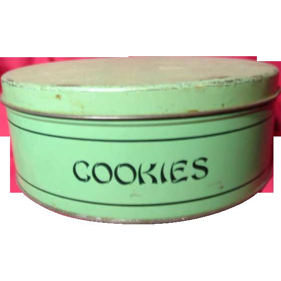 Vintage 1930 S Jade Green Gsw Cookie Tin Prairie Wind