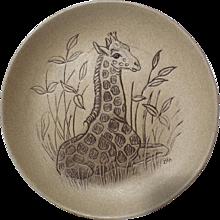 Poole Pottery Stoneware Plate, Kneeling Giraffe