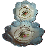 Antique Souvenir German Porcelain Pin Trays