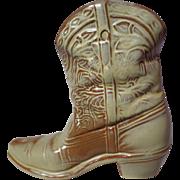 Frankoma Pottery Desert Gold Cowboy Boot Wall Vase ~ Model 133