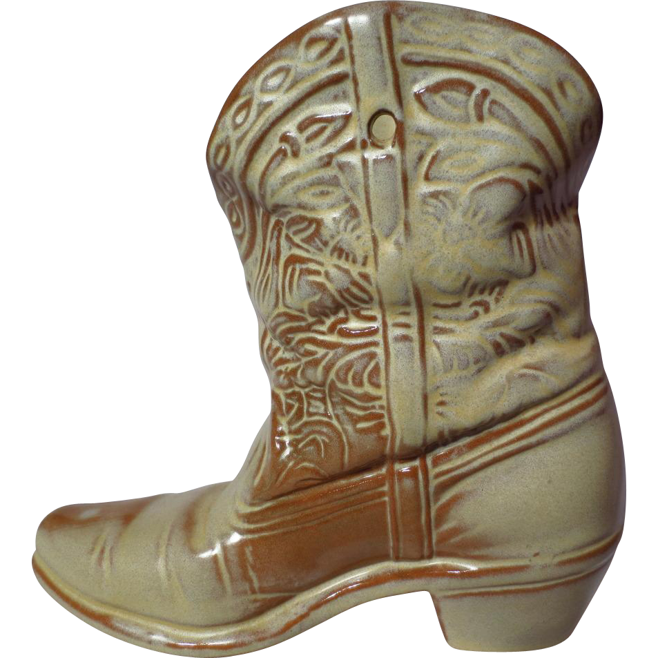 Frankoma pottery desert gold cowboy boot wall vase model 133 frankoma pottery desert gold cowboy boot wall vase model 133 prairie wind antiques ruby lane floridaeventfo Images