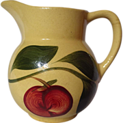 Vintage Watt Pottery Yelloware Red Apple Three Leaf Pitcher