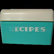 Retro Lustro-Ware B-25 Turquoise Recipe Box With Recipes