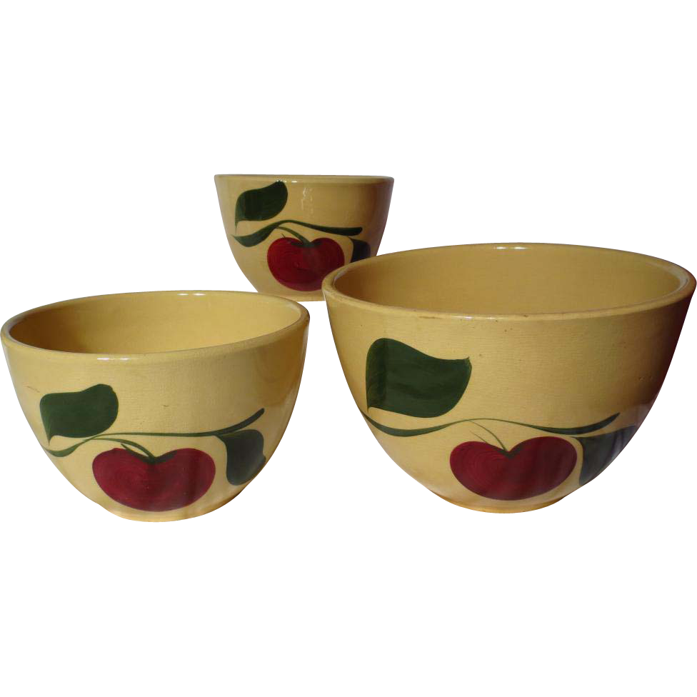 Vintage Watt Yelloware Red Apple Two Leaf Nested Mixing Bowl Set