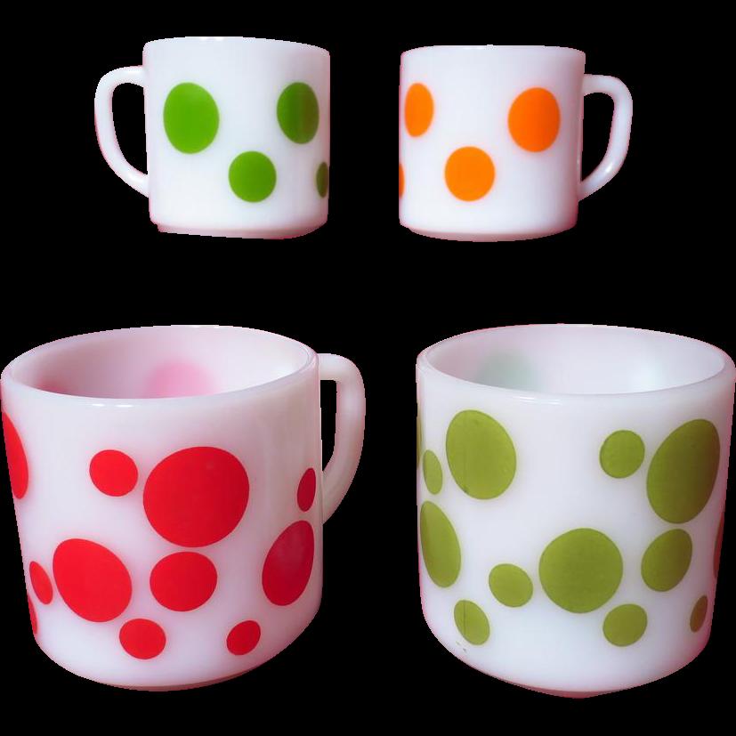 Vintage 1950's Federal Glass Polka Dot Mugs ~ Set of 4
