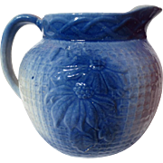Vintage Poinsettia Blue and White Salt Glazed Stoneware Pitcher