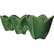 Vintage McCoy Green Triple Tulip Planter