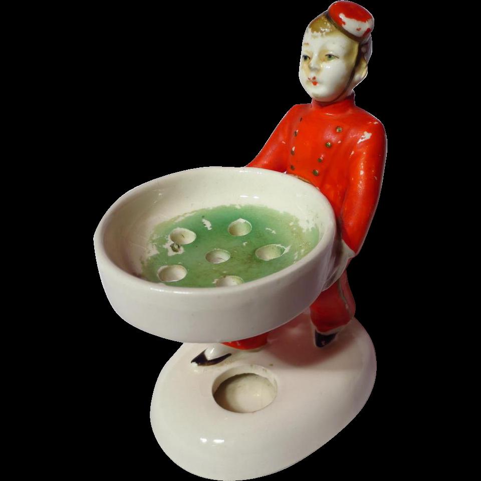 Vintage Ceramic Bellhop Figural Hatpin Holder