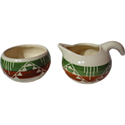 Dakota Pine Ridge Sioux Pottery White Clay Creamer & Sugar