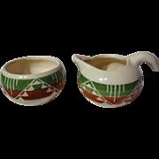 Dakota Pine Ridge Sioux Pottery White Clay Creamer & Sugar