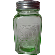 Hazel Atlas Green Embossed Depression Glass Salt Shaker