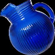 Vintage Ritz Blue Hazel Atlas Fine Rib Ball Jug