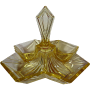 Indiana Glass Pyramid No.610 Yellow Four Part Center Handled Relish Dish