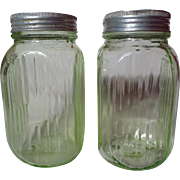 Hocking Transparent Green Ribbed Depression Glass Shakers