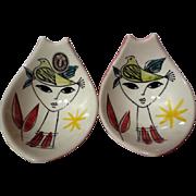 Vintage Stavangerflint Inger Waage Small Silkscreen Decorated Bowls