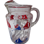 Vintage Federal Glass Nautical Sailing Ship Ice Lip Pitcher