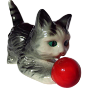 Goebel Gray Cat Playing With Ball Figurine
