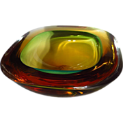 Vintage Murano Amber & Green Cased Sommerso Glass Geode Bowl