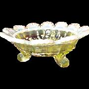 Northwood Vaseline Opalescent Klondyke Footed Bowl