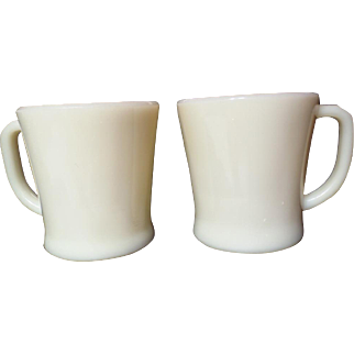 Vintage Pair 1940's Fire King Flat Bottom Ivory Mugs