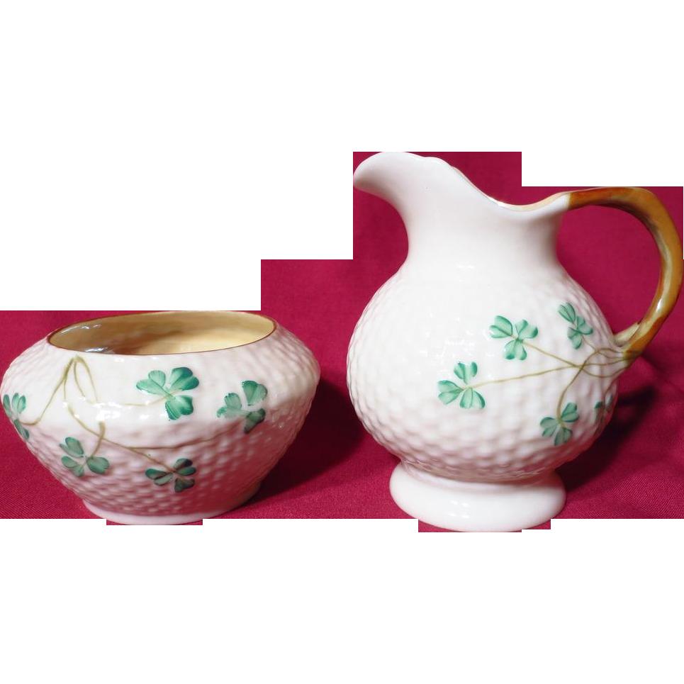Belleek Porcelain Shamrock Cream Jug and Open Sugar Bowl ~ Third Black Mark
