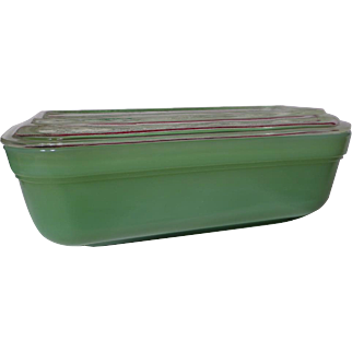 Fire King Jadeite Refrigerator Dish With Clear Lid