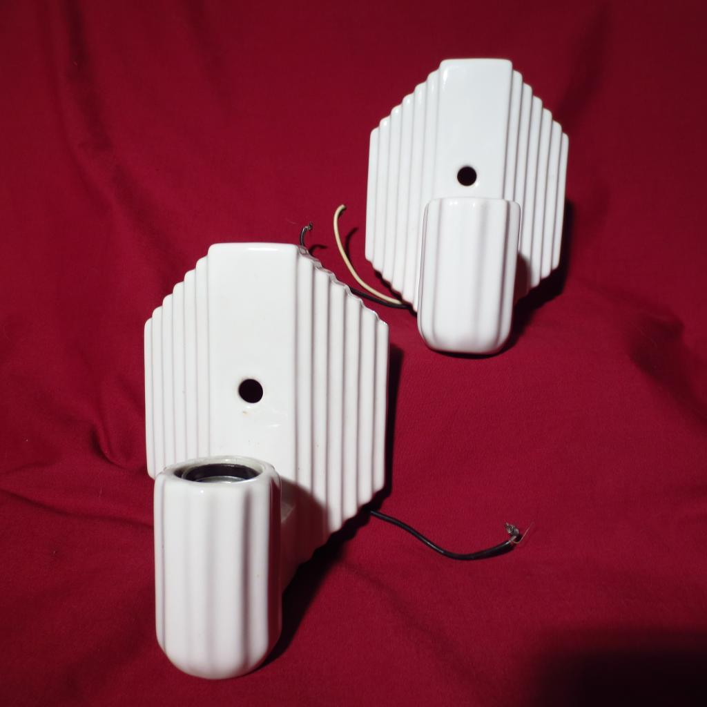 Vintage Pair Art Deco Porcelain Wall Sconce