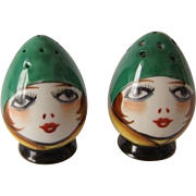 Vintage Flapper Girl Anthropomorphic Egghead Salt and Pepper Shakers