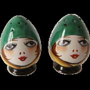 Vintage Flapper Girl Anthropomorphic Egghead Salt and Pepper Shakers