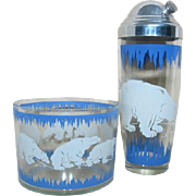 Vintage Hazel Atlas POLAR BEAR Cocktail Shaker and Ice Bucket
