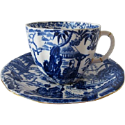 Royal Crown Derby Blue Mikado Decorative Tea Cup and Saucer