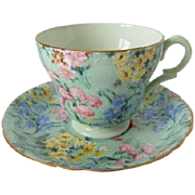 SHELLEY Demitasse Melody Chintz Patterned Cup and Saucer
