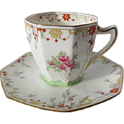 Royal Doulton Demitasse Hand Enamelled Cup and Saucer c.1930
