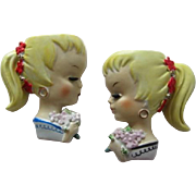 Vintage Ucagco Blonde Ponytail Girl Wall Pockets
