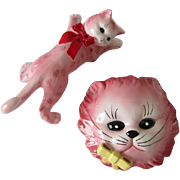 Two Vintage LEFTON Pink Cat Wall Pockets