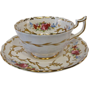 ROYAL CHELSEA Floral Tea Cup and Saucer with Rich Gilt Designs