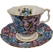 Royal Albert ANGELA Tea Cup and Saucer from Black Chintz Series