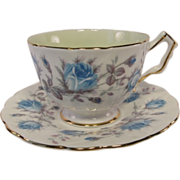 Vintage AYNSLEY Blue Tea Rose Tea Cup and Saucer - Red Tag Sale Item