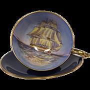 Vintage AYNSLEY Clipper Ship Cobalt Blue Cabinet Tea Cup and Saucer