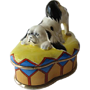 Vintage Japanese Chin Dog on Harlequin Dresser Box