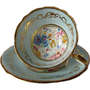 AYNSLEY Chintz Centered Gilt Scrolled Tea Cup and Saucer
